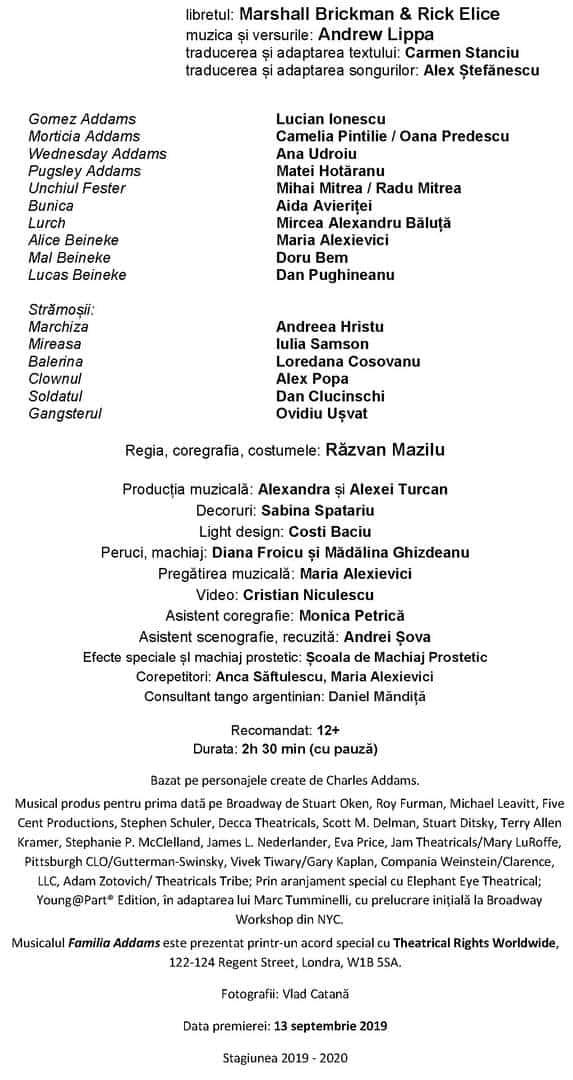Caseta artistica FAMILIA ADDAMS 2020